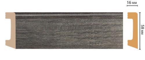 Цветной напольный плинтус DECOMASTER D234-87 ШК/15 (58*16*2400 мм)